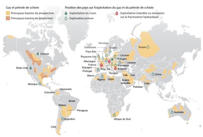 Le gaz et pétrole de schiste dans le monde.