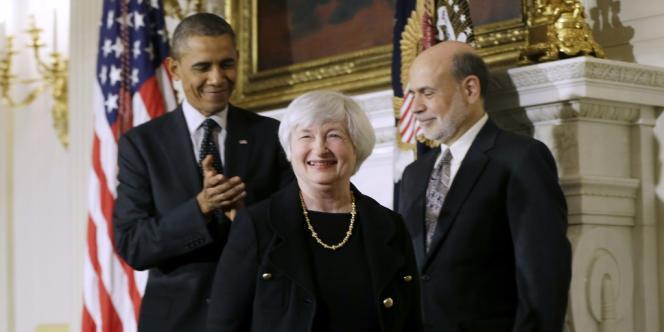 Barack Obama avec Janet Yellen et Ben Bernanke, le 9 octobre 2013, à Washington.