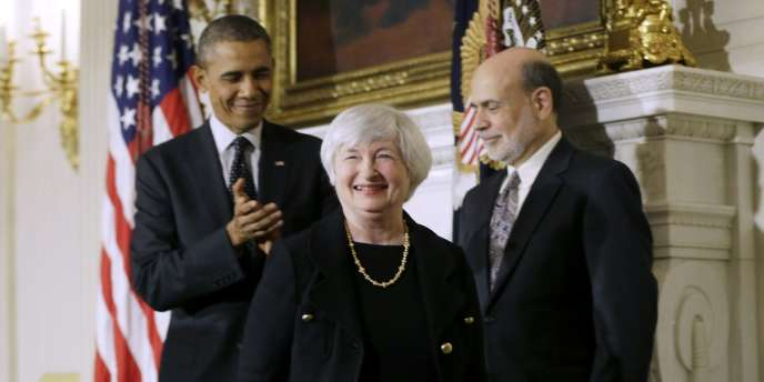 Barack Obama avec Janet Yellen et Ben Bernanke, le 9 octobre 2013, à Washington.