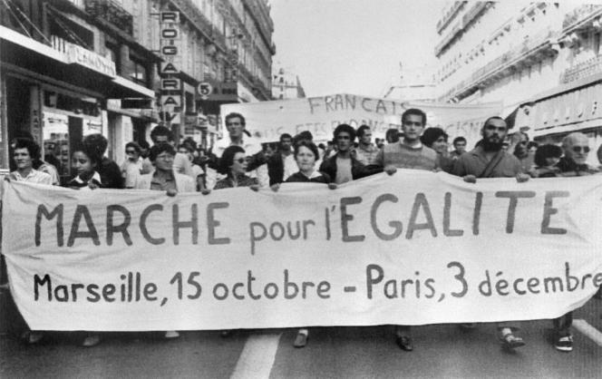 La marche pour l'égalité des droits et contre le racisme, le 15 octobre 1983, à Marseille.