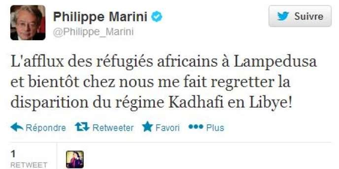 Tweet de Philippe Marini, samedi 12 octobre.