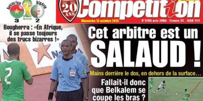 La une de Compétition après la défaite de l'Algérie face au Burkina Faso, samedi 12 octobre.