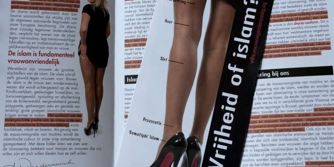 L'affiche montrait l'arrière des jambes d'une jeune femme relevant une jupe noire et portant des chaussures à semelles rouges. Des traits laissent entendre quelle hauteur de jupe est