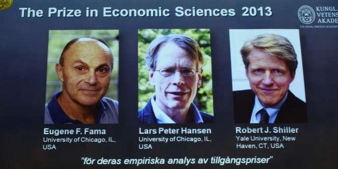 Les trois prix Nobel d'économie 2013 : Eugene F. Fama, Lars Peter Hansen et Robert J. Shiller.