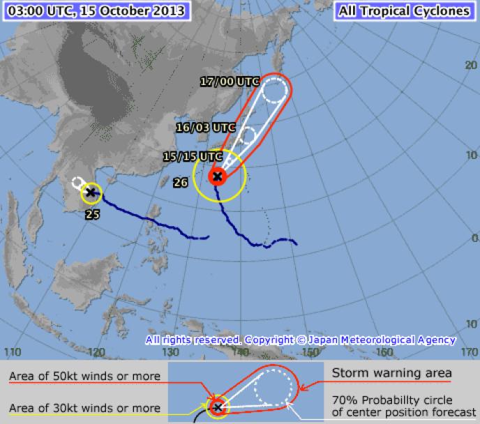 La trajectoire du typhon Wipha prévue par l'Agence météorologique japonaise.