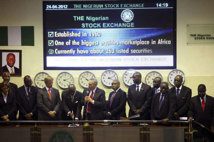 Les membres du bureau de la Bourse du Nigeria, le 24 avril 2012 à Lagos.