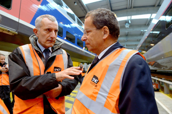 Guillaume Pepy, PDG de la SNCF, et Jacques Rapoport, président de Réseau Ferré de France (RFF), à Paris, le 11 octobre.