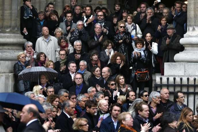 Eglise Saint-Sulpice à Paris (6e), mercredi 16 octobre 2013. A la sortie des obsèques du cinéaste Patrice Chéreau.