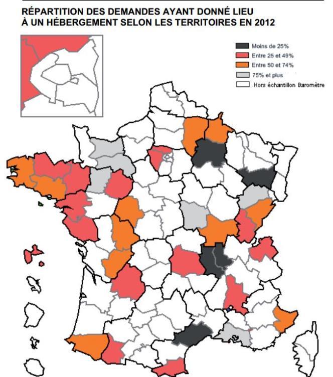 Répartition des demandes ayant donné lieu à un hébergement selon les territoires en 2012.