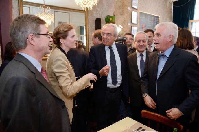 Nathalie Kosciusko-Morizet avec Bertrand Debré et Jean Tiberi lors d'un déjeuner à Paris le 10 juin.