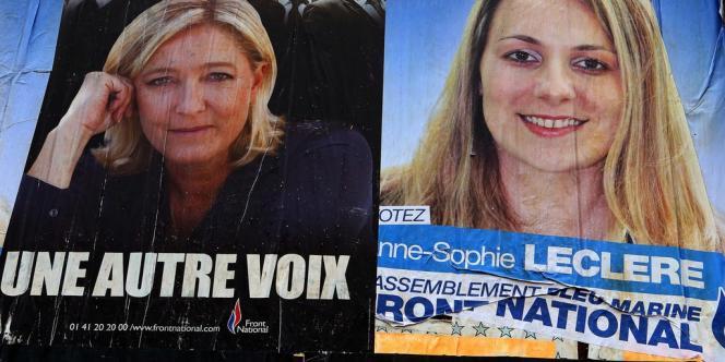 L'affiche de campagne d'Anne-Sophie Leclère (à droite), qui était candidate pour le Front national aux municipales de Rethel.