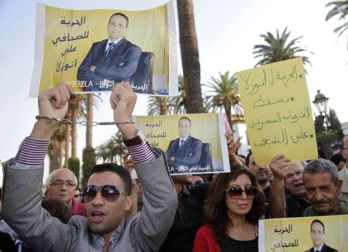 Manifestation de soutien à Ali Anouzla, le 26 septembre à Rabat.