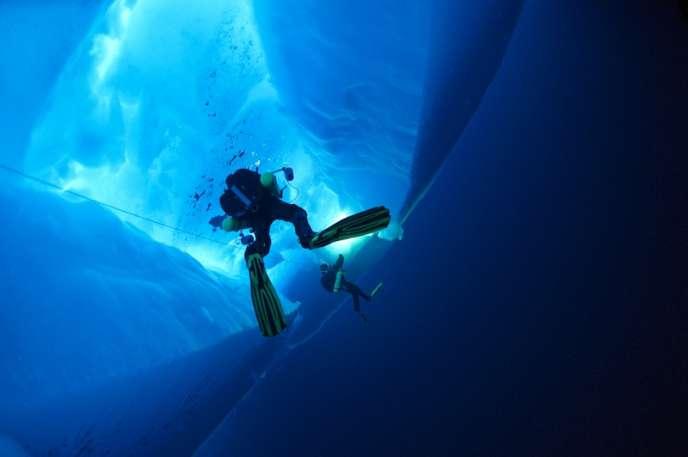 Ghislain Bardout, cofondateur de Base Océans, une société spécialisée dans l'exploration sous-marine des pôles, en plongée lors de l'expédition Under the Pole 1, au printemps 2010, à une soixantaine de kilomètres du pôle Nord géographique.