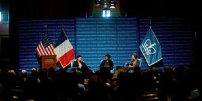 Columbia University (Etats-Unis), lundi 14 octobre 2013. Rencontre entre la ministre française des droits des femmes, Najat Vallaud-Belkacem, et la présidente de la New America Foundation, Anne-Marie Slaughter, animée par Alondra Nelson.