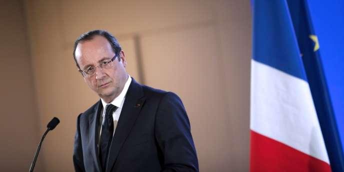 François Hollande, le 23 février lors d'une conférence de presse à la porte de Versailles à Paris.