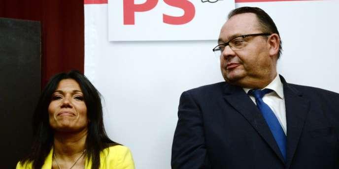 Samia Ghali et Patrick Mennucci, après le second tour de la primaire PS, dimanche 20 octobre à Marseille.