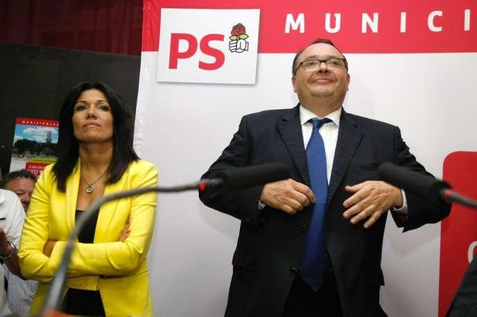 Samia Ghali et Patrick Mennucci, dimanche 20 octobre, à l'issue de la primaire socialiste, à Marseille.