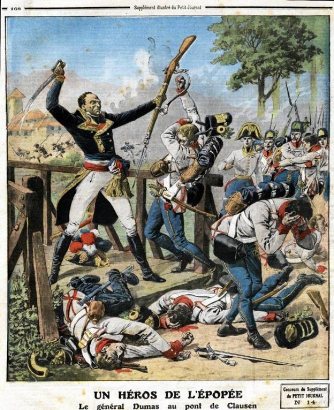 Le général Dumas combattant les Autrichiens, gravure du