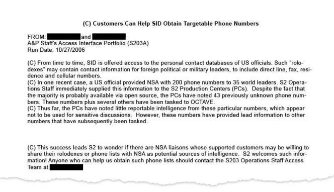Le document de la NSA diffusé par