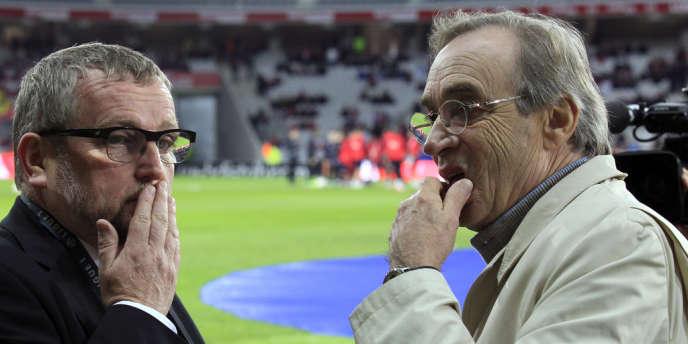Le président du Valenciennes FC, Jean-Raymond Legrand, en compagnie de Michel Seydoux, président du Losc, le 27 octobre 2012 à Villeneuve-d'Ascq.