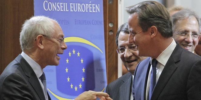 Herman Van Rompuy, le président du Conseil européen, et David Cameron, le premier ministre britannique le 24 octobre.