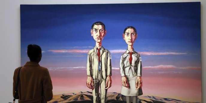 Une toile du peintre chinois Zeng Fanzhi exposée au Musée d'art moderne de la Ville de Paris en octobre 2013. Zeng Fanzhi est l'un des artistes contemporains les plus chers au monde.