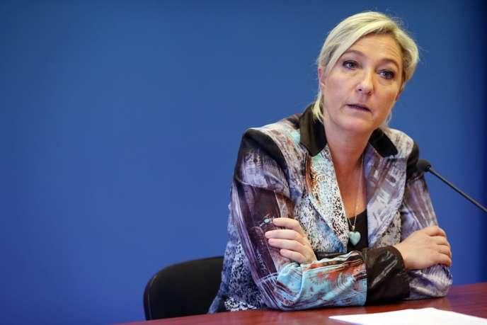 Marine Le Pen, présidente du Front national, lors d'une conférence de presse, le 25 octobre.