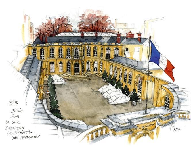 La discrète septuagénaire a d'abord réussi à pénétrer l'hémicycle du Sénat, puis s'est vu ouvrir les portes de l'Assemblée et de Matignon. Ici, la cour d'honneur de Matignon.