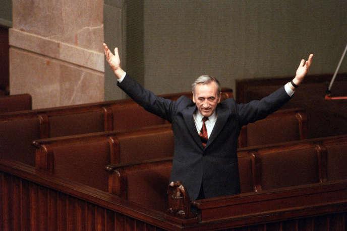 Tadeusz Mazowiecki, le premier chef de gouvernement de la Pologne postsoviétique, en septembre 1989.