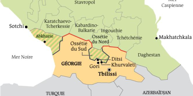 La Géorgie et ses provinces séparatistes, l'Ossétie du Sud et l'Abkhazie.
