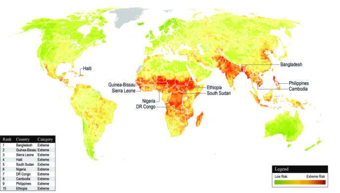 Les pays les plus durement touchés par le changement climatique (en rouge) et ceux qui sont le moins affectés (en vert).