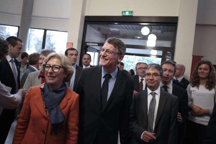 La ministre de l'enseignement supérieur Geneviève Fioraso et le ministre de l'éducation nationale Vincent Peillon, à Caen, le 3 octobre 2013.