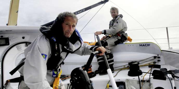 François Gabart et Michel Desjoyeaux à l'entraînement à bord de