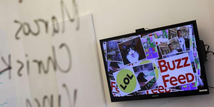 Au siège de Buzzfeed à New York, en février 2013.