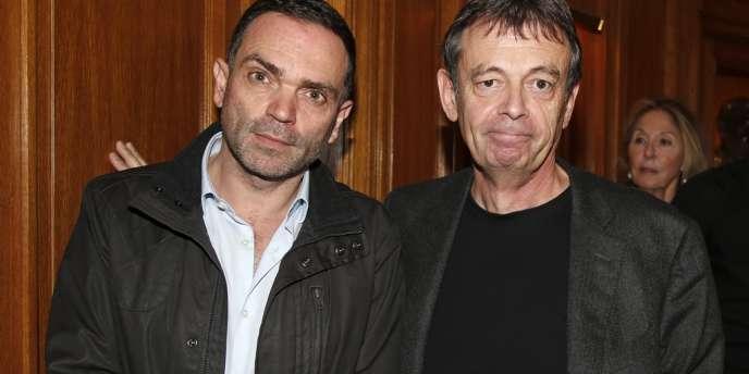 Yann Moix (à gauche) et Pierre Lemaitre, au restaurant Drouant, à Paris, lundi 4 novembre.