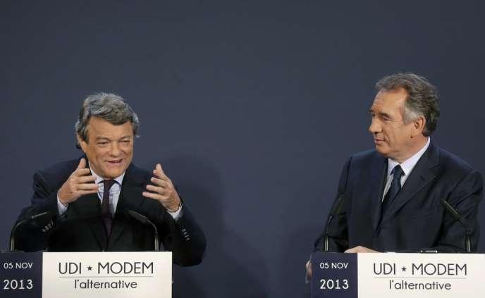 Jean-Louis Borloo et François Bayrou à Paris, le 5 novembre.