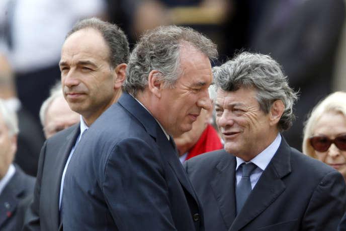 Jean-Francois Copé, François Bayrou et Jean-Louis Borloo, le 11 juin 2013 à Paris.