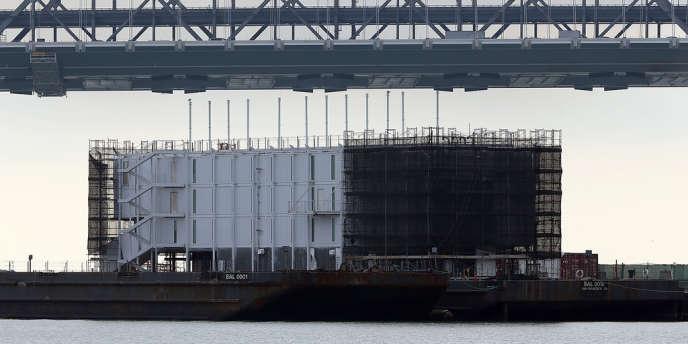 La plateforme flottante construite par Google à San Francisco, le 30 octobre.