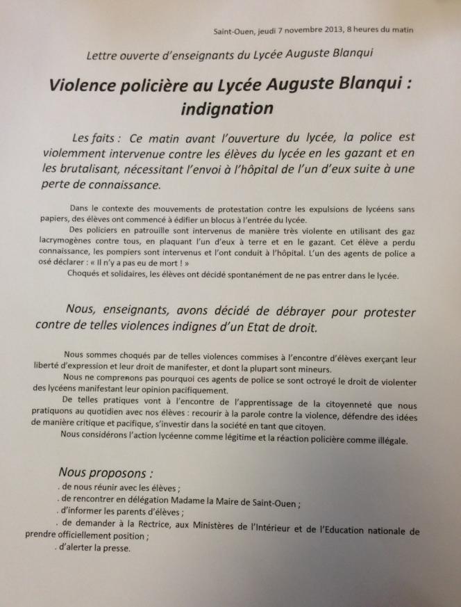 Le communiqué des enseignants du lycée Auguste Blanqui à Saint-Ouen, après les événements du 7 novembre.
