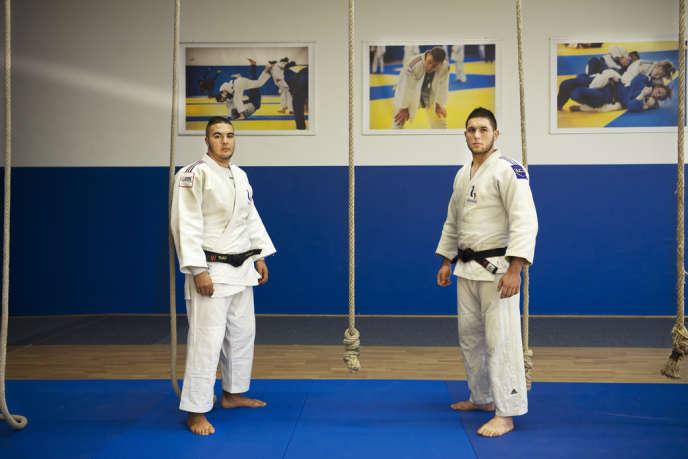 Nabil Zalagh (à gauche) et Emre Sanal sur les tatamis de l'Insep le 15 octobre.