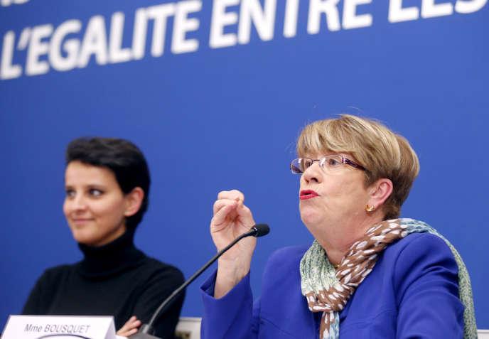 Najat Vallaud-Belkacem, ministre des droits des femmes, et Danielle Bousquet, présidente du Haut Conseil à l'égalité entre les femmes et les hommes, à Paris, en janvier 2013.