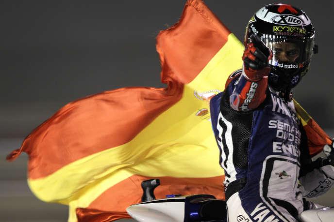 Le champion du monde en titre Jorge Lorenzo après sa victoire au Grand Prix du Qatar, en avril 2012.