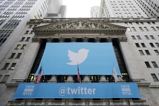 A Wall Street, le 7 novembre 2013, jour de l'introduction de Twitter en Bourse.