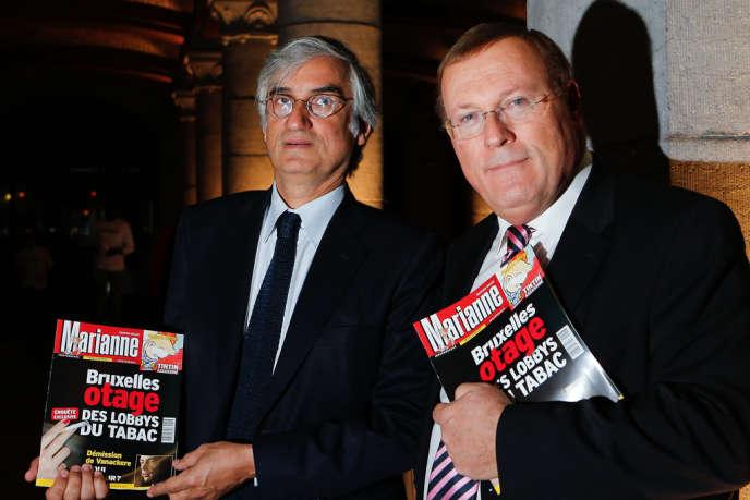 Le 8 mars à Bruxelles, Maurice Szafran (à gauche), alors encore directeur de