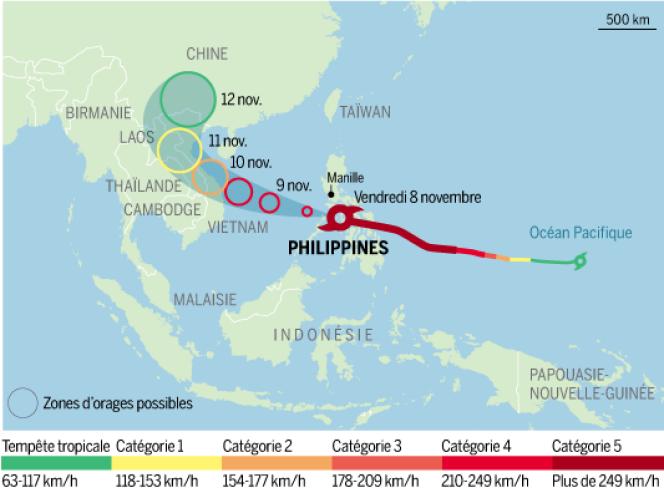 Trajet du typhon Haiyan, qui a touché les côtes philippines le 8 novembre.