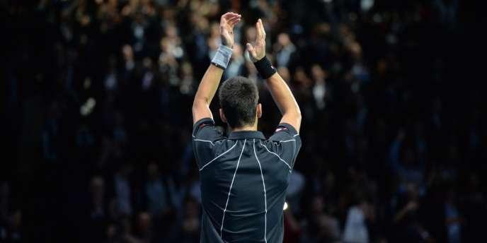Novak Djokovic, après avoir battu Juan Martin Del Potro jeudi 7 novembre au Masters de Londres.