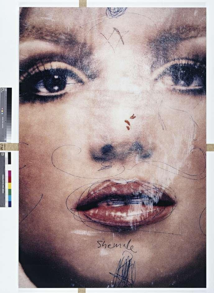 Britney #4, 2001. Affiche de la chanteuse Britney Spears graffée et photographiée par Phil Collins, dans le métro de New York.