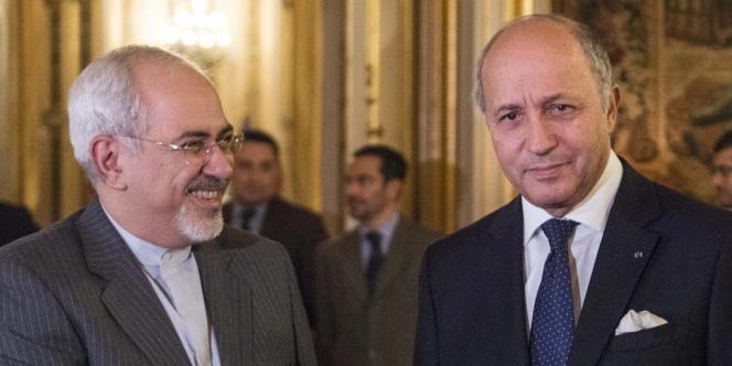 Laurent Fabius et son homologue iranien Jawad Zarif, le 5 novembre 2013 à Paris.
