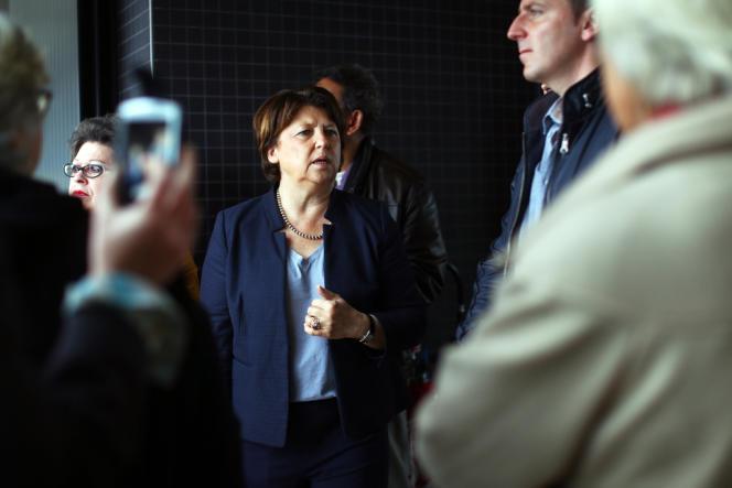 La maire de Lille Martine Aubry, lors d'une visite à Euratechnologies, pole d'excellence économique dédié aux technologies de l'information et de la communication, le 22 juin 2013.