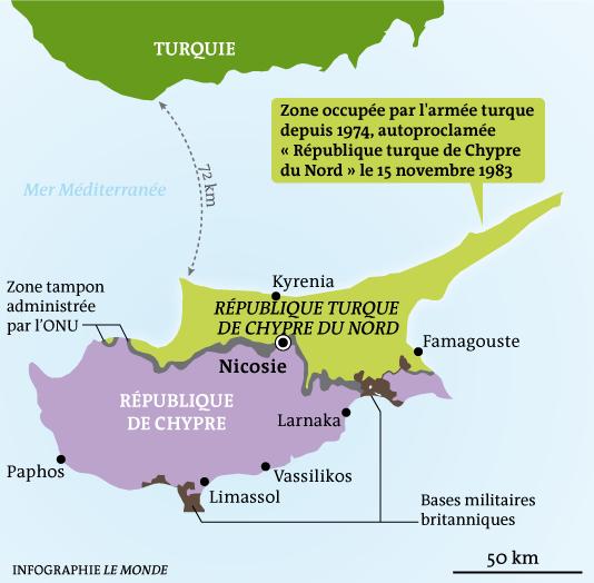 Carte politique de Chypre.